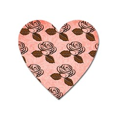 Chocolate Background Floral Pattern Heart Magnet