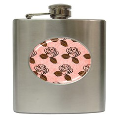 Chocolate Background Floral Pattern Hip Flask (6 Oz)