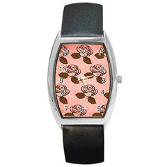 Chocolate Background Floral Pattern Barrel Style Metal Watch