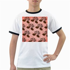 Chocolate Background Floral Pattern Ringer T Shirts