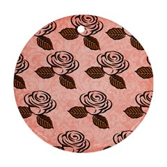 Chocolate Background Floral Pattern Round Ornament (two Sides)