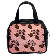 Chocolate Background Floral Pattern Classic Handbags (2 Sides)
