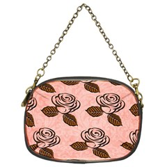 Chocolate Background Floral Pattern Chain Purses (two Sides)