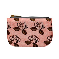 Chocolate Background Floral Pattern Mini Coin Purses