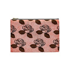 Chocolate Background Floral Pattern Cosmetic Bag (medium)