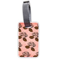 Chocolate Background Floral Pattern Luggage Tags (two Sides)