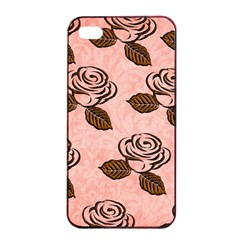Chocolate Background Floral Pattern Apple Iphone 4/4s Seamless Case (black)