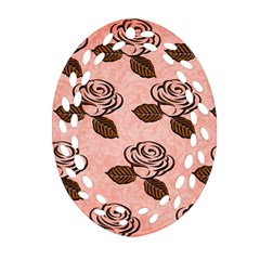 Chocolate Background Floral Pattern Ornament (oval Filigree)