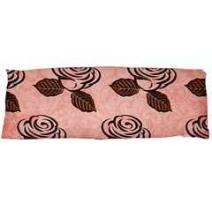 Chocolate Background Floral Pattern Body Pillow Case Dakimakura (two Sides)
