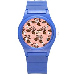 Chocolate Background Floral Pattern Round Plastic Sport Watch (s)