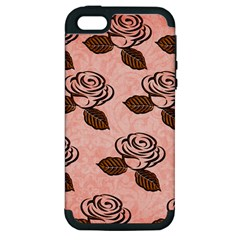 Chocolate Background Floral Pattern Apple Iphone 5 Hardshell Case (pc+silicone)