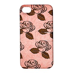 Chocolate Background Floral Pattern Apple Iphone 4/4s Hardshell Case With Stand