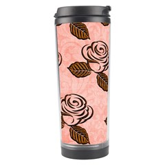 Chocolate Background Floral Pattern Travel Tumbler