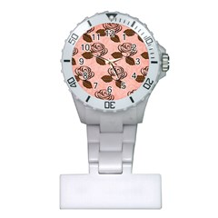 Chocolate Background Floral Pattern Plastic Nurses Watch