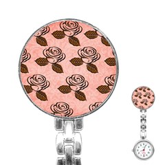 Chocolate Background Floral Pattern Stainless Steel Nurses Watch