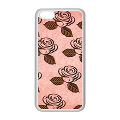 Chocolate Background Floral Pattern Apple Iphone 5c Seamless Case (white)