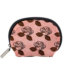 Chocolate Background Floral Pattern Accessory Pouches (small)