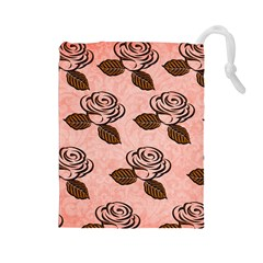 Chocolate Background Floral Pattern Drawstring Pouches (large)