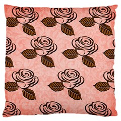 Chocolate Background Floral Pattern Standard Flano Cushion Case (one Side)