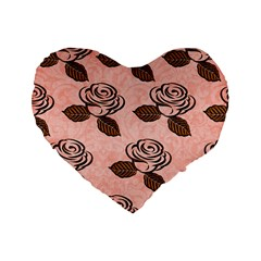 Chocolate Background Floral Pattern Standard 16  Premium Flano Heart Shape Cushions