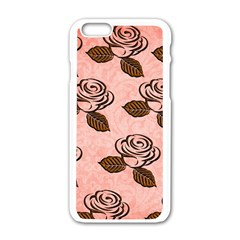 Chocolate Background Floral Pattern Apple Iphone 6/6s White Enamel Case