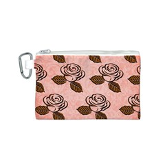 Chocolate Background Floral Pattern Canvas Cosmetic Bag (s)