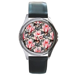 Water Lily Background Pattern Round Metal Watch