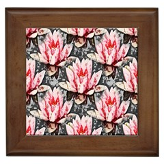 Water Lily Background Pattern Framed Tiles