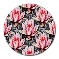 Water Lily Background Pattern Round Mousepads