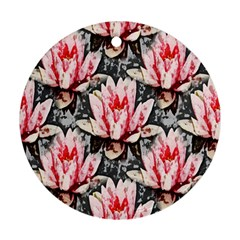 Water Lily Background Pattern Ornament (round)