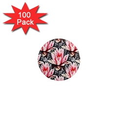 Water Lily Background Pattern 1  Mini Magnets (100 Pack)