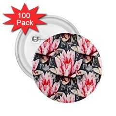 Water Lily Background Pattern 2 25  Buttons (100 Pack)