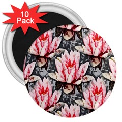 Water Lily Background Pattern 3  Magnets (10 Pack)