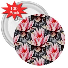 Water Lily Background Pattern 3  Buttons (100 Pack)
