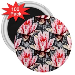 Water Lily Background Pattern 3  Magnets (100 Pack)