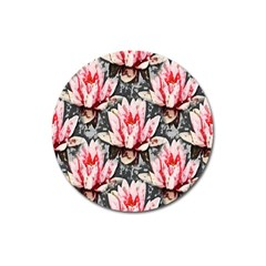 Water Lily Background Pattern Magnet 3  (round)
