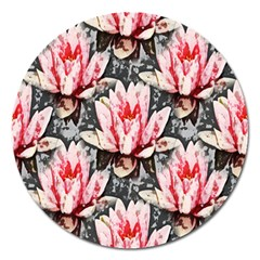 Water Lily Background Pattern Magnet 5  (round)