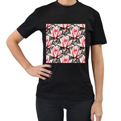 Water Lily Background Pattern Women s T Shirt (black) (two Sided)