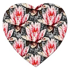 Water Lily Background Pattern Jigsaw Puzzle (heart)