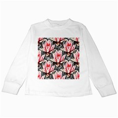 Water Lily Background Pattern Kids Long Sleeve T Shirts