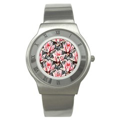 Water Lily Background Pattern Stainless Steel Watch