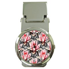 Water Lily Background Pattern Money Clip Watches