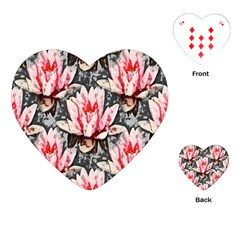 Water Lily Background Pattern Playing Cards (heart)