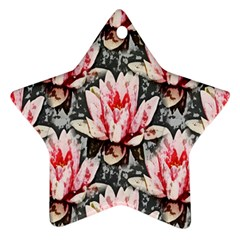 Water Lily Background Pattern Star Ornament (two Sides)