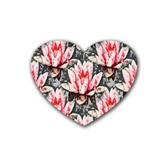 Water Lily Background Pattern Rubber Coaster (heart)