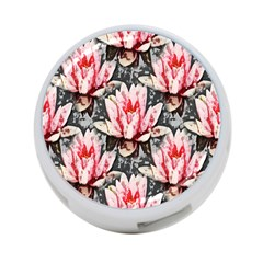 Water Lily Background Pattern 4 Port Usb Hub (one Side)