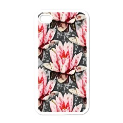 Water Lily Background Pattern Apple Iphone 4 Case (white)