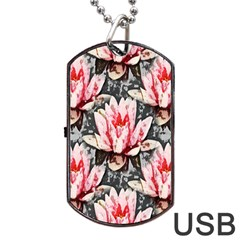 Water Lily Background Pattern Dog Tag Usb Flash (two Sides)
