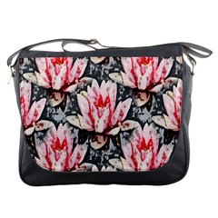 Water Lily Background Pattern Messenger Bags
