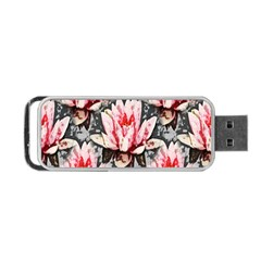 Water Lily Background Pattern Portable Usb Flash (one Side)